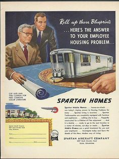 Answer to Employee Housing Problem Spartan Mobile Homes ad 1953 Vintage Rv, Vintage Caravans, Vintage Trailers, Vintage Campers, Trailers For Sale, Camper Trailers, Travel Trailers, Vintage Advertisements, Ads