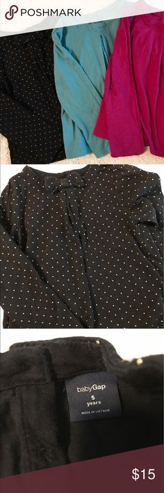 (3) Girls Shirt Bundle Baby Gap Girls Shirts. Very soft and comfortable. All shirts have a pleated front, pink and blue shirt have a keyhole neck with Button closure. All are in excellent used condition. GAP Shirts & Tops Tees - Long Sleeve