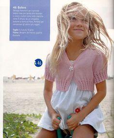 golfino rosa maniche corte Crochet Bolero, Shrug Knitting Pattern, Bolero Pattern, Knit Vest Pattern, Knitting Patterns Free, Knit Crochet, Knitting For Kids, Baby Knitting, Baby Girl Dresses