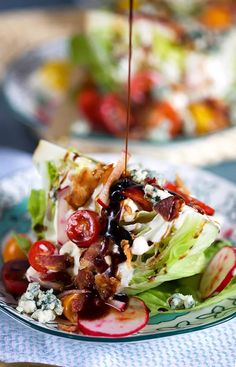 Loaded Iceberg Wedge Salad Recipe – The Suburban Soapbox A steakhouse classic, this Loaded Iceberg Wedge Salad recipe is quick, easy and can be made ahead. The BEST wedge salad you'll ever take a bite of. From The Suburban Soapbox Cheese Recipes, Cooking Recipes, Healthy Recipes, Easy Cooking, Microwave Recipes, Healthy Breakfasts, Healthy Dinners, Easy Recipes, Vinaigrette