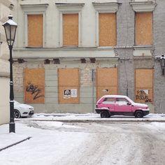 #prague #prag #praha #winter #snow #cold #street #car
