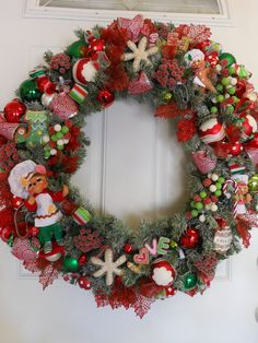 SALE++Christmas+Wreath+Lime+Green+&+Red+by+GreengirlWreaths,+$145.00