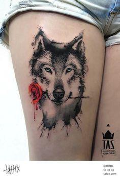 wolf with rose by Rodrigo Tas, Sao Paulo, Brazil | wolf tattoos