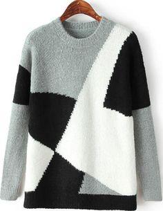 Color Block Plaid Knit Loose Sweater - Sheinside.com