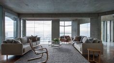 Born of the perennially popular modernist movement, only to be hijacked by public infrastructure; brutalism is something of an enigma in residential design. Sunrise Home, Polished Concrete Flooring, Recycled Brick, Limestone Wall, Street House, Brutalist, Beautiful Villas, Interior Styling, Furniture