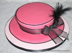 Hat shaped cake with black feather, chiffon ribbon and bow Cake Decorating Techniques, Cake Decorating Tutorials, Mini Cakes, Cupcake Cakes, Hat Cake, Ribbon Bows, Ribbons, Cakes For Women, Hat Boxes