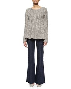 Cable-Knit Long-Sleeve Cashmere Sweater & High-Waist Flare-Leg Denim Pants by Co at Neiman Marcus.