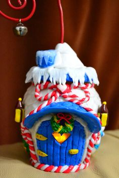 Winter fairy houses made from polymer clay