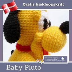 Baby Pluto gratis dansk hækleopskrift Baby Toys, Crochet Hats, Venter, Dolls, Pattern, Crafts, Animals, Knitted Animals, Tricot