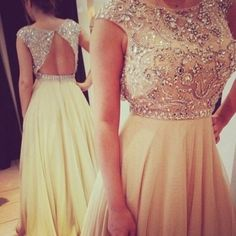 Beige Long Chiffon Beading Crystal Prom Dresses Party Formal Gown