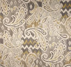 Neutral Ikat Window Curtains Grey Paisley by asmushomeinteriors