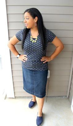 anchor print top with denim pencil skirt modest outfit idea - easy on the go mom style