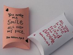 Valentine's Favor Pillow Boxes Treat Box Funny. $1.00, via Etsy.