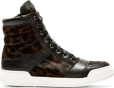 Balmain Brown Leopard Calf-Hair High-Top Sneakers