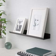IKEA - MALMBÄCK, Display shelf, dark gray, The picture ledge makes it easy to vary your favorite motifs as often as you like. Screws and any other fasteners you might need to attach your solution securely to the wall (e. wall anchors) are not included. Display Shelves Ikea, Wall Shelves, Mounted Shelves, Wall Storage, Shoe Storage, Ikea Vallentuna, Rangement Art, Mosslanda Picture Ledge, Catalogue Ikea