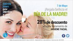 #PROMOCIONES del mes de #Mayo: ❤ PACK BELLEZA ¡DÍA DE LA MADRE! 20% Dto. en cada tratamiento de higiene facial #diadelamadre #regalos #belleza
