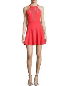 BCBGMAXAZRIA Halter Mesh-Inset Fit & Flare Cocktail Dress, Women's, Size: 2