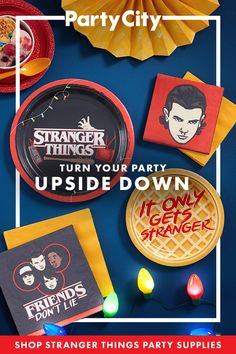 Things party Stranger Things is back! Shop Party City for Stranger Things themed party suppli. Stranger Things is back! Shop Party City for Stranger Things themed party supplies. Stranger Things Theme, Stranger Things Halloween, Bobby Brown Stranger Things, Stranger Things Season, 13th Birthday Parties, 12th Birthday, Birthday Party Themes, Birthday Ideas, Friend Birthday Gifts