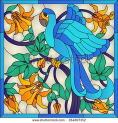 Blue parrots macaws stained glass window - stock vector