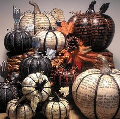 Harvest Poe Pumpkin decoupaged Fall holiday decor by Parachute425