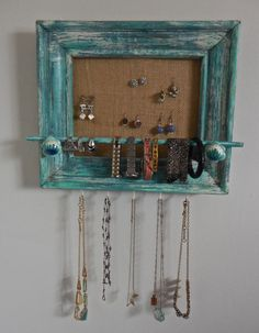Adorable Distress Painted Wall Jewelry Organizer-Upcycled Wood Frame-Blue Aqua White-Floral Ceramic Knobs by PippinPost on Etsy
