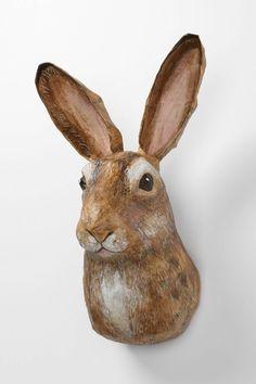 Emily Warren papier mache rabbit head