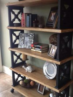 Another wood and iron bookshelf
