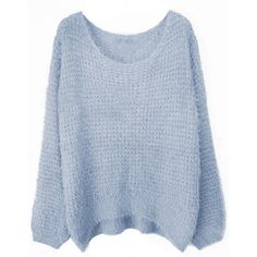 Grey Round Neck Long Sleeve Villus Pullovers Sweater ($72) ❤ liked on Polyvore