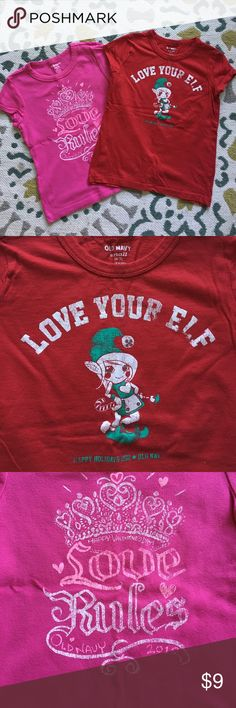 """🛍Bundle of 2 Old Navy holiday tops🛍 Both from Old Navy, size small 6-7. Both worn twice at most. Pink Valentine top has 2012 date in it & red """"Live Your Elf"""" is dated 2011. Excellent condition!! Old Navy Shirts & Tops Tees - Short Sleeve"""