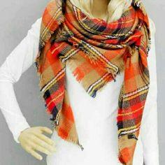 "Oversized Tartan  Plaid Big Square Blanket Scarf Size: 52"" Lenght X 56"" Width Boutique Accessories Scarves & Wraps"