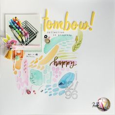 """""""tombow"""" scrapbook layout by kushi per scrappiamoinsieme.blogspot.it #scrapbooking #scrapbooklayout #tombow #tombowdualbrush #kkushi"""