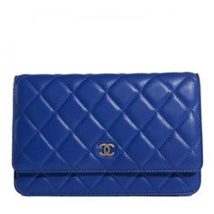 CHANEL Lambskin Quilted Wallet On Chain WOC Dark Blue ❤ liked on Polyvore featuring bags, quilted chain bag, chanel, chain bag, chain shoulder bag and handbags shoulder bags