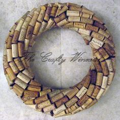 "Medium Large 17"" Handmade Wine Cork Wreath, Without Grapes/No Grapes, Recycled Wine Cork Door Wreath - pinned by pin4etsy.com"