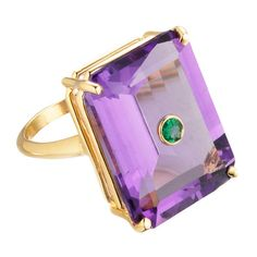 "Madyha Farooqui """"Nolita"""" Amethyst Cocktail Ring ($3,300) ❤ liked on Polyvore featuring jewelry, rings, cocktail ring, 18 karat gold ring, 18k jewelry, amethyst cocktail ring and stud ring"
