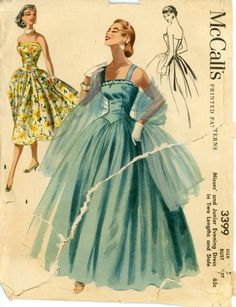 1950s Evening Dress Pattern McCalls 3399 Misses Full Skirt Ball Gown Bust 32 Womens Vintage Sewing Pattern. $68.00, via Etsy.