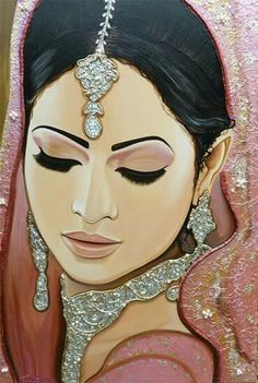 Fabulous, sparkle Indian Bride painting 'Moments In Love'. Glamour Asian Bridal Portrait Art by Frank Wagtmans. Beautiful, large 100 % hand made artwork! Indian Women Painting, Indian Art Paintings, Modern Art Paintings, Art Sketches, Art Drawings, India Art, Woman Painting, Portrait Art, Face Art