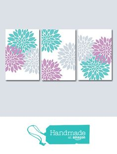 Lavender Teal Bedroom Wall Art, Lavender Floral Wall Art, Lavender Gray Nursery Wall Art, Lavender Floral Bathroom Wall Art- UNFRAMED Set of 3 from Sweet Blooms Decor http://www.amazon.com/dp/B0189GZFW4/ref=hnd_sw_r_pi_dp_ARMAwb00CWBSP #handmadeatamazon