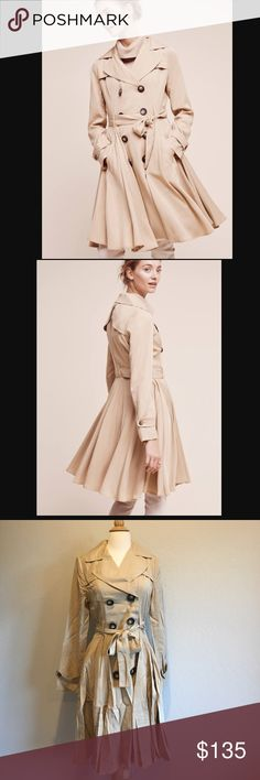 """Anthropologie DRA trench NWT. Available size S and M. Light weight. Not lining. 38"""" long from shoulder. Size S shoulder across 16""""1/2, bust flat across 18"""", waist flat across 15"""". Size M measurement will be updated later. Price is firm unless bundle. Anthropologie Jackets & Coats Trench Coats"""