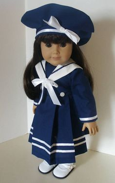 American Girl 18 doll  clothes - Navy Sailor Dress with Matching Beret
