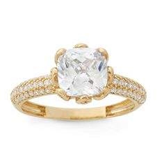 Gioelli 10k Gold Cushion-cut Cubic Zirconia Designer Ring (Yellow Gold Ring Size 10), Women's
