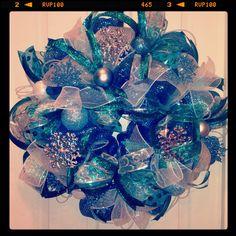 Ice blue Christmas deco mesh wreath
