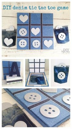 DIY Crafts with Old Denim Jeans - DIY Denim Tic Tac Toe Game   - Cool Projects and Fashion You Can Make With Old Jeans - Fun Crafts for Teens and Adults, Inexpensive Ones!