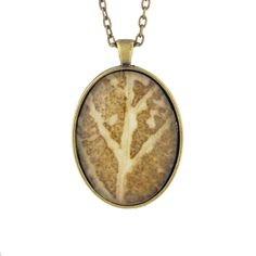 Leaf Print Necklace 28, glass cameo in vintage bronze setting
