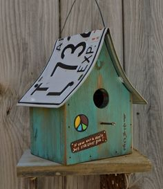 Birdhouse - Recycled License Plates - Hippie House