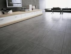 oversize bathroom floor tiles that look like polished concrete. Dark Tile Floors, Grey Floor Tiles, Bathroom Floor Tiles, Grey Flooring, Kitchen Flooring, Kitchen Tiles, Background Tile, Style Tile, White Walls