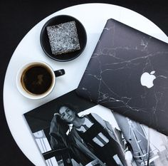 Chic black marble MacBook laptop skin from UniqFind