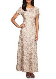 Alex Evenings Sand A-line Rosette Gown