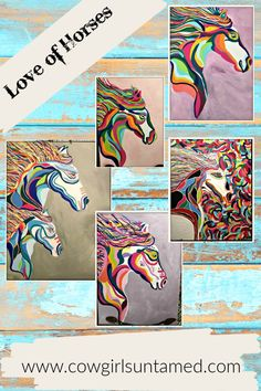 Hand Painted Horse on Wrap Around Canvas by COWGIRLS UNTAMED! All done in Louisville, KY! Makes a great unique affordable gift! FREE USA SHIPPING w/code FREESHIP20 COWGIRLS UNTAMED wholesale & retail #wallart #horseart #equineart #equine #equestrian #cowgirl #horselover #barrelracer #westernart #rodeo #cowgirlart #women #giftideas #fashion #colorful #handpainted #custom #unique #wraparoundcanvas #westernhonedecor #cowboydecor #cowgirldecor #cowgirlgifts #westerngifts #horsegifts #mare #foal Cowgirl Style Outfits, Rodeo Outfits, Cowgirl Fashion, Western Art, Western Style, Gypsy Home Decor, Equestrian Jewelry, Cowgirl And Horse, Gypsy Clothing
