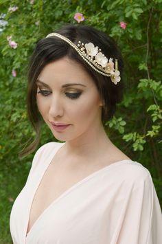 Bridal headpiece, Floral Hair Vine, Flower Hairpiece, Cherry Flowers, Hair...