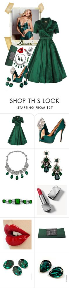 """""""Ruby Lips for Emeralds"""" by duci ❤ liked on Polyvore featuring Polaroid, Victoria's Secret, Badgley Mischka, Shourouk, Kevin Jewelers, Burberry and NOVICA"""